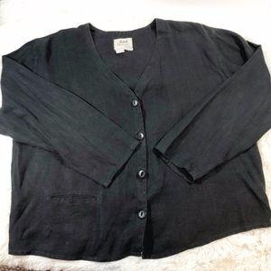 FLAX Button Down Linen Jacket Long Sleeve Black LG